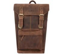 Vintage Rucksack Leder 42 cm Laptopfach