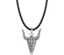 Halskette Lederkette Stierkopf Oxidiert 925 Silber