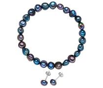 2er Set Süßwasserzuchtperlen dunkelblau Armband und Ohrstecker
