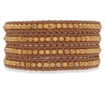 Armband Echtleder dunkelbraun Metallbeads silber