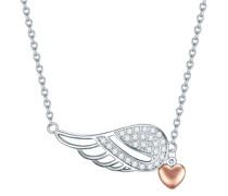 Halskette Herz/Flügel Sterling Silber Zirkonia silber/roségold