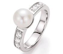 Ring zart mit Süßwasserperle und Zirkonia, Silber 925