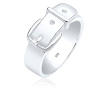 Ring Gürtel Symbol Diamant 0.03 ct. 925 Sterling Silber