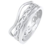 Ring Ringset Wellen Geflochten Verdreht 925 Silber