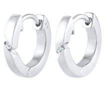 Ohrringe Creolen Basic Diamant (0.03 ct.) 925 Silber