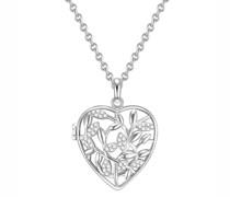 Halskette Herz Sterling Silber Zirkonia silber