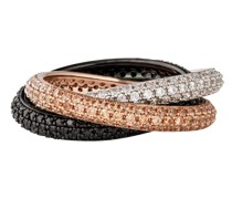 Ring Messing Glaskristalle silber / roségold schwarz