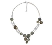 Halskette Metall Labradorit Süßwasser-Zuchtperlen silber