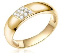 Ring Sterling Silber gelbvergoldet Zirkonia weiß