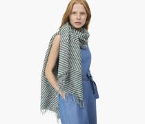Jacquard Schal aus Baumwolle und Wolle lorbeer green