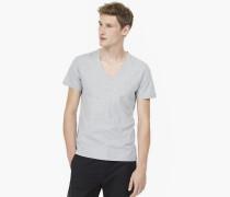 T-Shirt mit V-Ausschnitt light grey melange