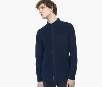 Button Down Hemd aus Cord indigo