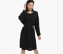 Kleid mit besticktem Gürtel black