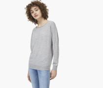 Feinstrickpullover aus Woll Mix light grey melange