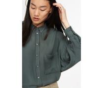 Oversized Bluse aus Viskose-Baumwoll-Twill wood