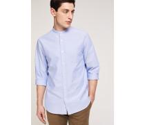 Oxford Stehkragen Hemd pool blue