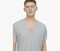 Basic V Neck Shirt grey heather melange