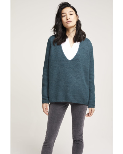 V Pullover aus Royal Baby Alpaka Mix evergreen