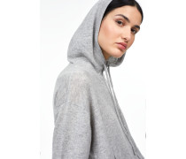 Kapuzenstrickjacke aus reinem Kaschmir light grey melange