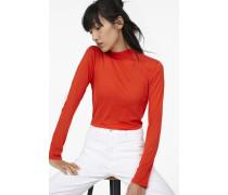 Luxury Basic Langarmshirt mit Stehkragen orange lava