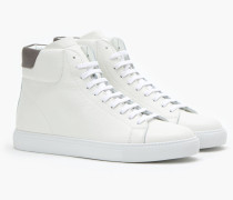 High Top Sneaker aus Nappaleder white