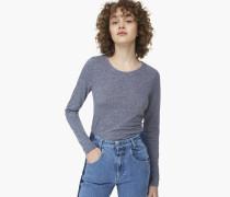 Langarmshirt aus Melange Jersey dark denim blue