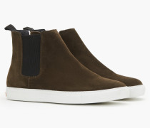 High Top Slip Ons aus Veloursleder hamptons green