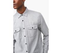 Hemd mit zwei Brusttaschen aus Flanell grey dust melange