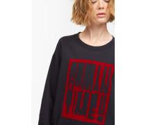 Sweatshirt mit geflocktem Print black