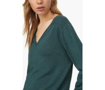 Wollpullover mit Seide und Kaschmir lorbeer green