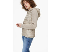 Steppjacke mit Strickärmeln Wood light beige