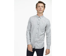 Under Button Down Hemd mit Print grey dust melange