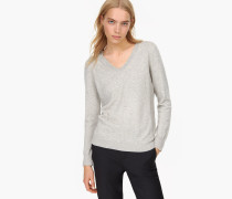 V Pullover mit Kaschmir light grey melange