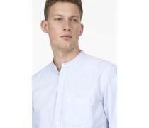Hemd mit Stehkragen aus Melange-Oxford sky blue