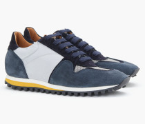 Runner im Materialmix fog grey