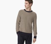 Gemusterter Baumwoll Mix Pullover navy