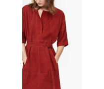 Kleid aus Veloursleder red brick
