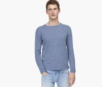 Pullover aus Baumwolle und Leinen dazzling blue
