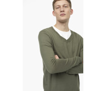 Leichter Baumwoll Pullover guerilla green