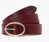 Ledergürtel mit ovaler Schließe granat red