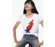 T-Shirt mit Print aus Melange Jersey blanched almond
