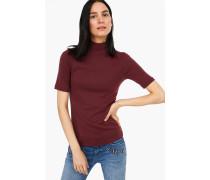 T-Shirt mit Stehkragen bordeaux