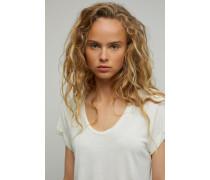 T-Shirt mit Roll up Ärmel linen white
