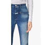 Pedal Pusher Indigo Blue Stretch Denim