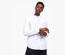 Hemd mit Stehkragen aus Melange-Oxford white