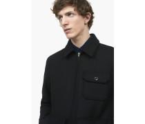 Wolljacke mit abnehmbarem Kragen black