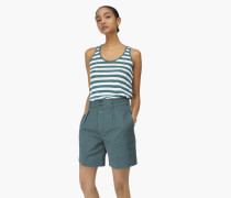 Shorts aus Leinen Mix lorbeer green