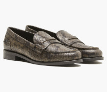 Penny Loafers Python Optik shadow green