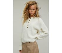 Sweater mit Knopfleiste aus Alpaka Mix linen white