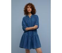 Stehkragenkleid aus Indigo Twill